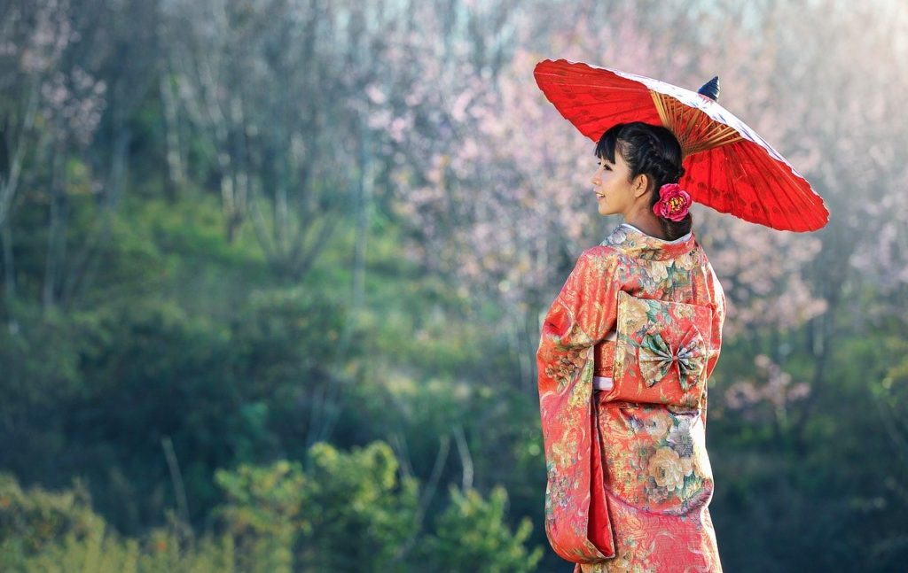 a japanese woman with kimono