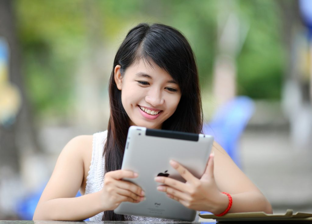 a girl with tablet